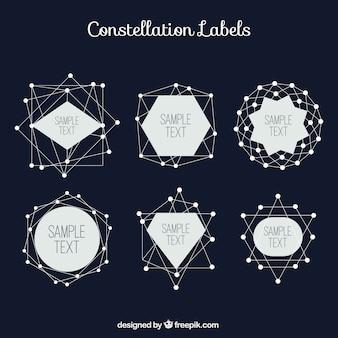 Etiquetas constelação definido no estilo geométrico