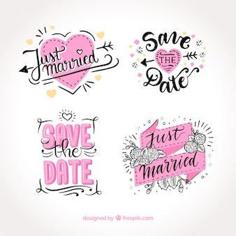 Etiquetas criativas de casamento desenhadas a mão