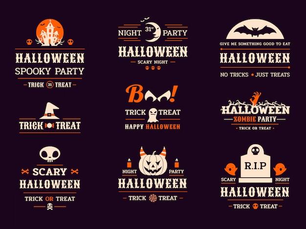 Etiquetas da tipografia da celebração do dia das bruxas
