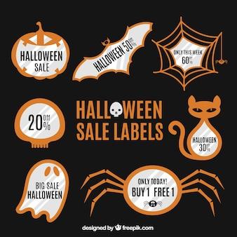 Etiquetas da venda com itens do dia das bruxas