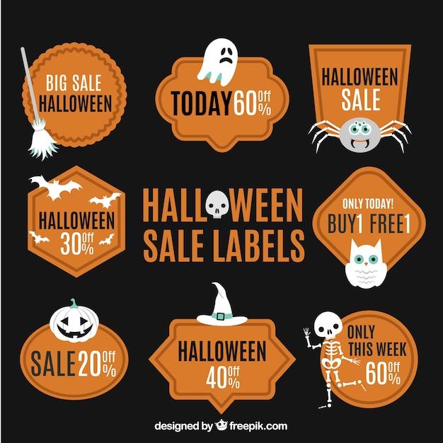 Etiquetas da venda de laranja do dia das bruxas