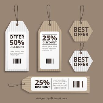 Etiquetas da venda de papelão