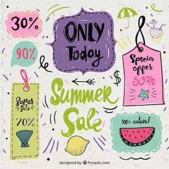 Etiquetas da venda do vintage do verão desenhados mão