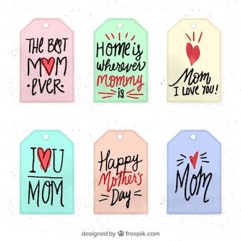 Etiquetas das citações do dia de mãe
