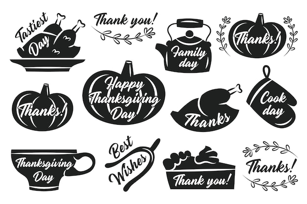 Etiquetas de adesivos de ação de graças outono novembro feriado turquia abóbora xícara chaleira torta forno luva ervas letras silhuetas negras