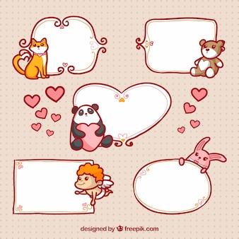 Etiquetas de amor em branco com animais