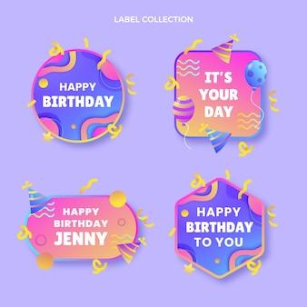 Etiquetas de aniversário coloridas em gradiente