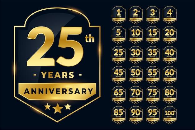 Etiquetas de aniversário de casamento em dourado
