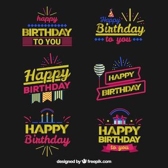 Etiquetas de aniversário de fluor