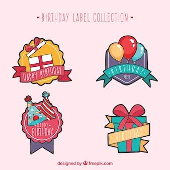 Etiquetas de aniversário decorativas