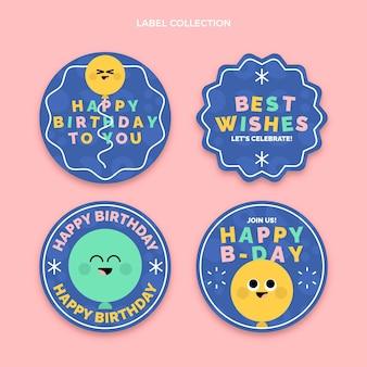 Etiquetas de aniversário mínimas de design plano