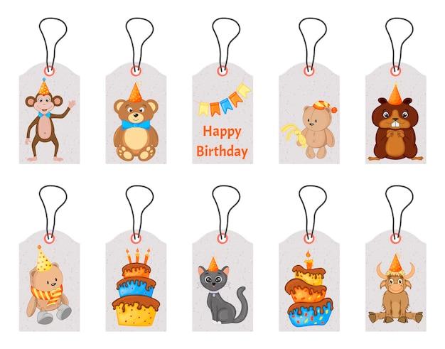 Etiquetas de aniversário para itens de férias com animais fofos. estilo de desenho animado. vetor.
