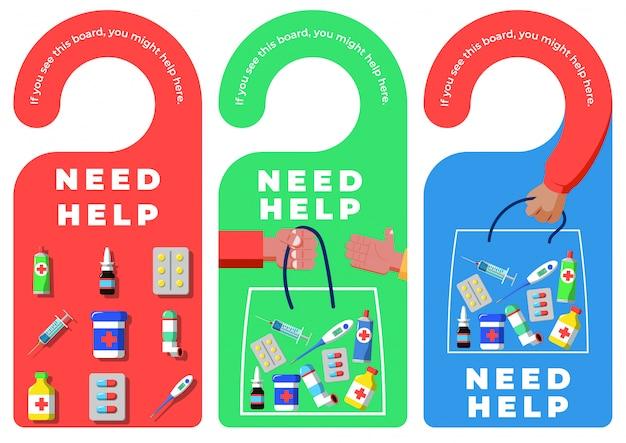 Etiquetas de cabide de porta com sinal de necessidade de ajuda - medicamentos