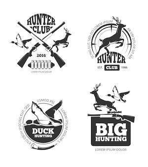 Etiquetas de caça vintage retrô de vetor