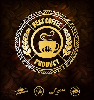Etiquetas de café dourado e fundo de grãos de café