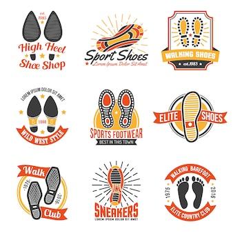 Etiquetas de calçado com conjunto de ícones de pegadas