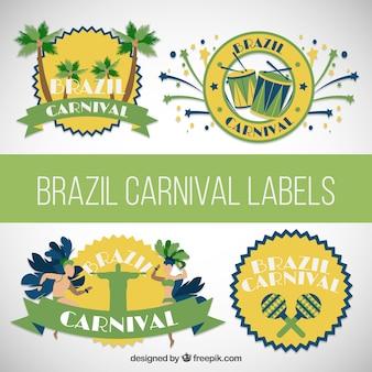 Etiquetas de carnaval brasil embalar