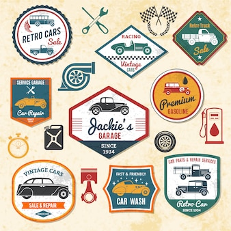 Etiquetas de carros retrô