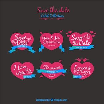 Etiquetas de casamento com corações planos