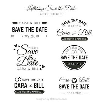 Etiquetas de casamento com estilo elegante