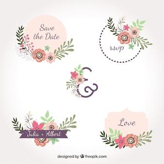 Etiquetas de casamento com flores planas