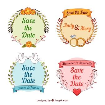 Etiquetas de casamento desenhadas à mão com estilo divertido
