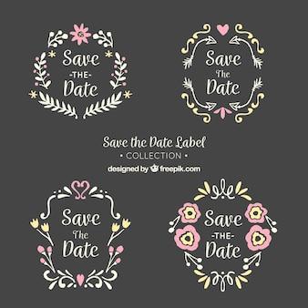 Etiquetas de casamento do quadro-negro com encantadoras frmaes