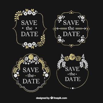 Etiquetas de casamento do quadro-negro vintage com flores
