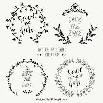 Etiquetas de casamento elegantes com estilo desenhado a mão