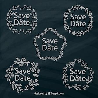 Etiquetas de casamento modernas com moldura de folha