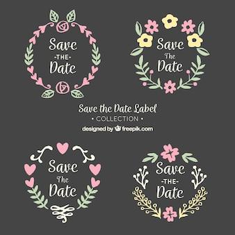 Etiquetas de casamento no quadro-negro com quadro bonito