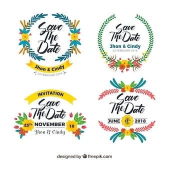 Etiquetas de casamento planas com estilo colorido