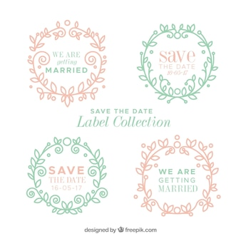 Etiquetas de casamento vintage com moldura floral
