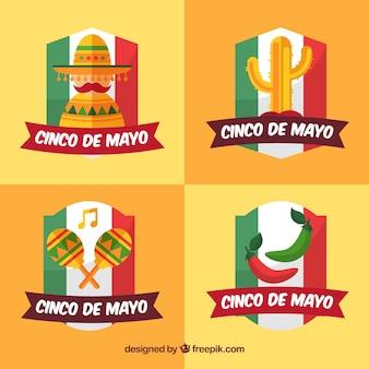 Etiquetas de cinco de mayo com bandeira mexicana e elementos decorativos