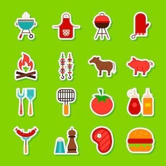 Etiquetas de comida de churrasco. estilo simples de ilustração vetorial. coleção de símbolos de churrasco.