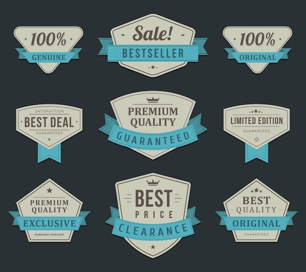 Etiquetas de compras exclusivas. venda vintage em edição limitada de fita azul para clientes de elite.