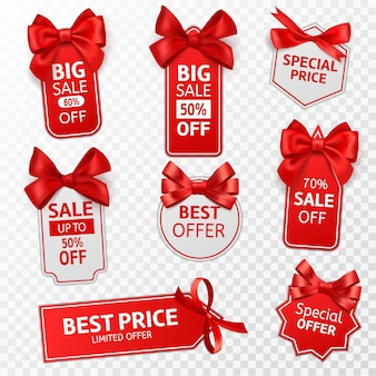 Etiquetas de compras. oferta especial de etiquetas de preços vermelhas, venda no varejo, mensagem promocional, preços de natal, etiqueta de desconto com conjunto de modelos isolados de vetor de laço de cetim