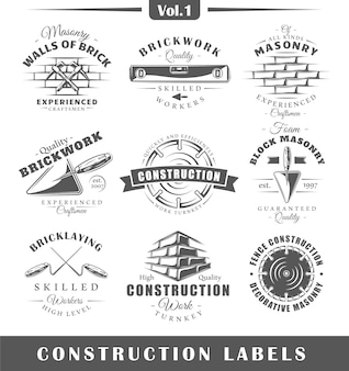 Etiquetas de construção vintage