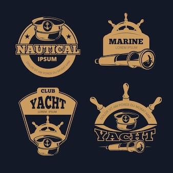 Etiquetas de cores náuticas retrô em fundo escuro.