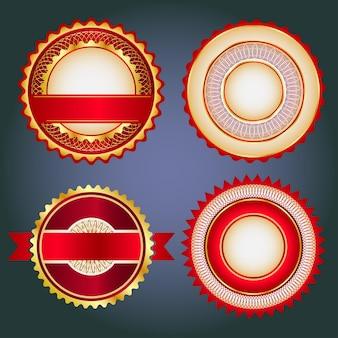 Etiquetas de crachás e adesivos sem texto no varejo projetado em cores vermelhas