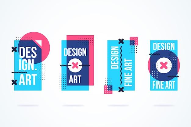 Etiquetas de design gráfico em desenho geométrico