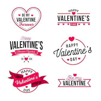Etiquetas de design plano de dia dos namorados