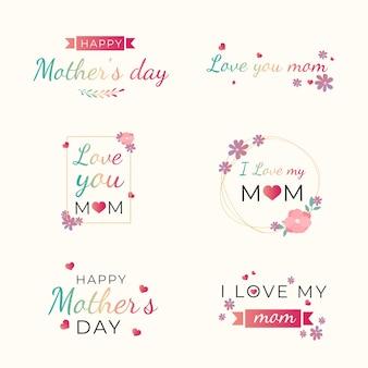 Etiquetas de dia das mães de design plano