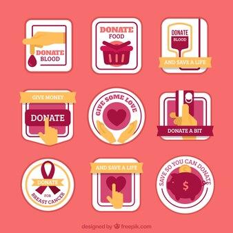 Etiquetas de doação vintage