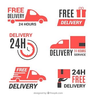 Etiquetas de entrega com design plano
