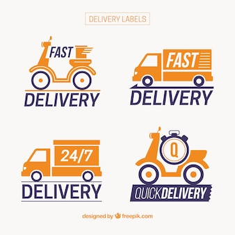 Etiquetas de entrega com scooter e caminhão