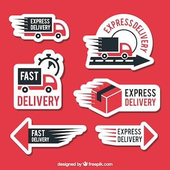 Etiquetas de entrega modernas com design plano