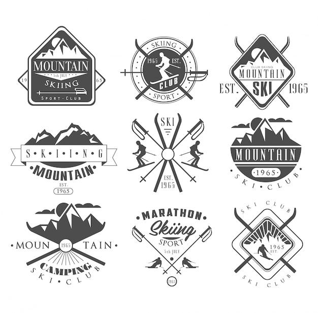 Etiquetas de esqui vintage e conjunto de elementos de design