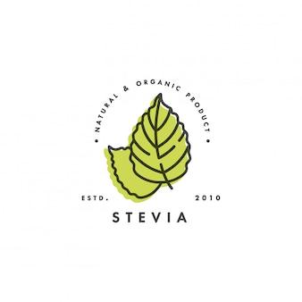 Etiquetas de estévia linear, logotipos, emblemas e ícones. elemento adoçante natural. ícone de estévia orgânica. distintivo de stevia seguro de eco.
