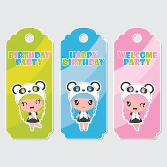 Etiquetas de etiquetas bonitas de desenhos animados coloridos para meninas das meninas panda